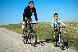 father cycling